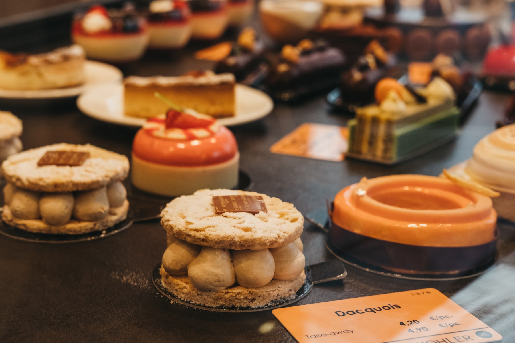 array of desserts in a Luxembourg cafe