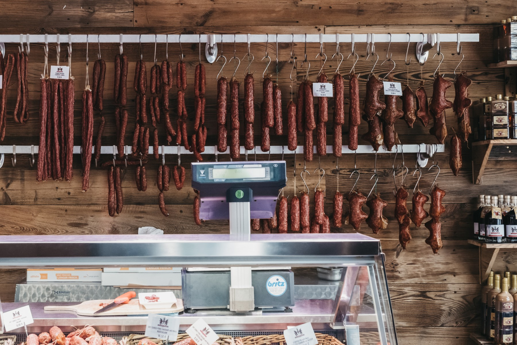 sausages in a Luxembourg deli
