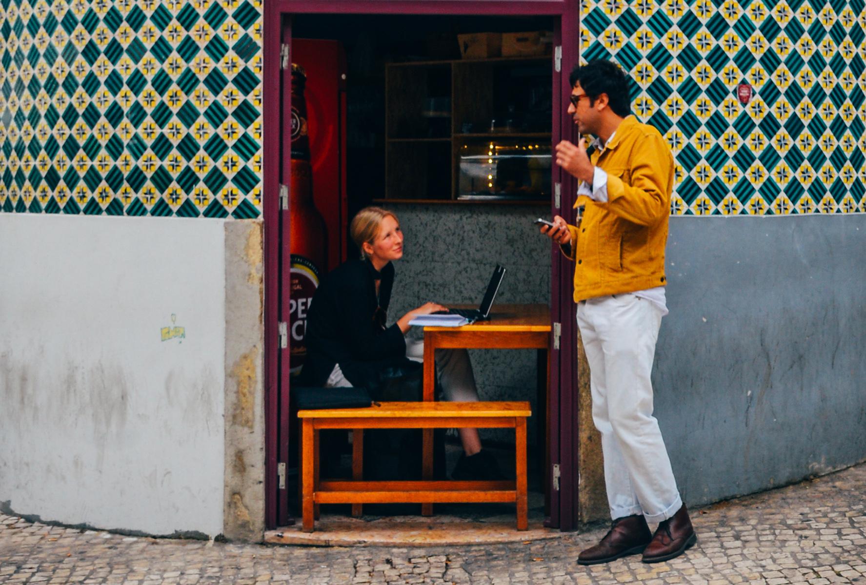 Woman working in a Lisbon café