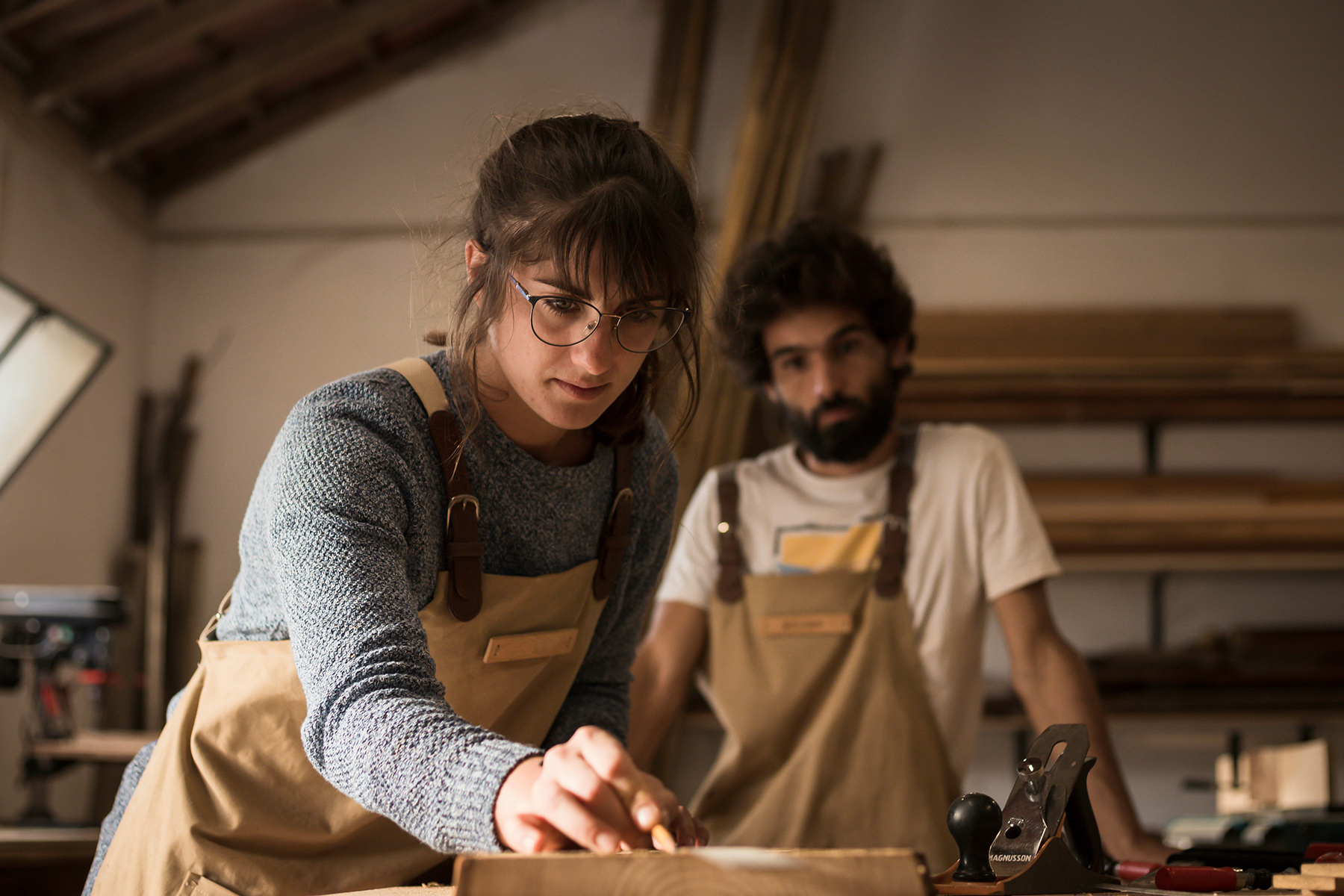 Young carpenters in their workshop