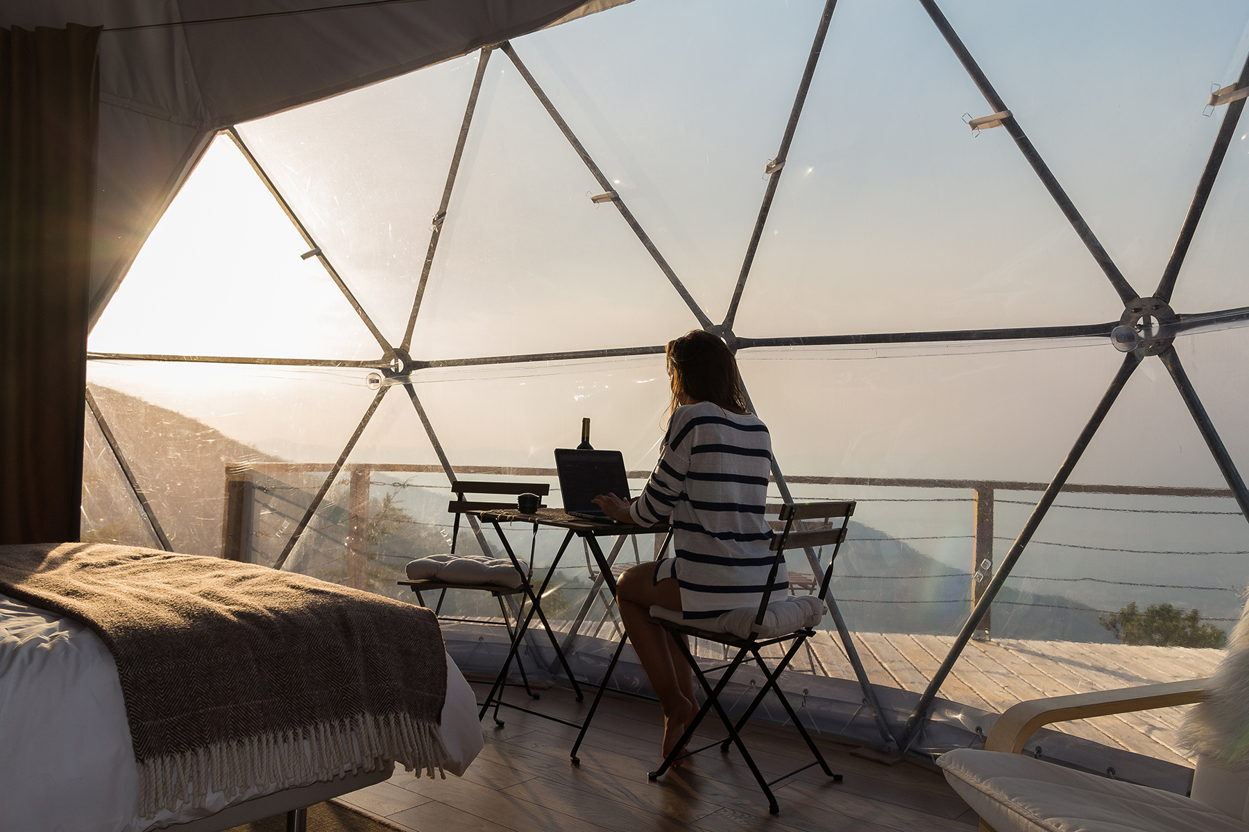 Freelancer working with a view of the Portuguese coast