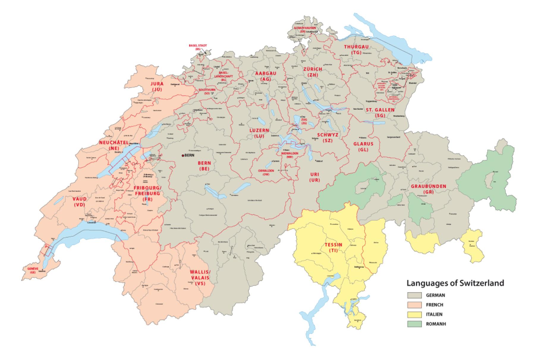 language distribution in switzerland