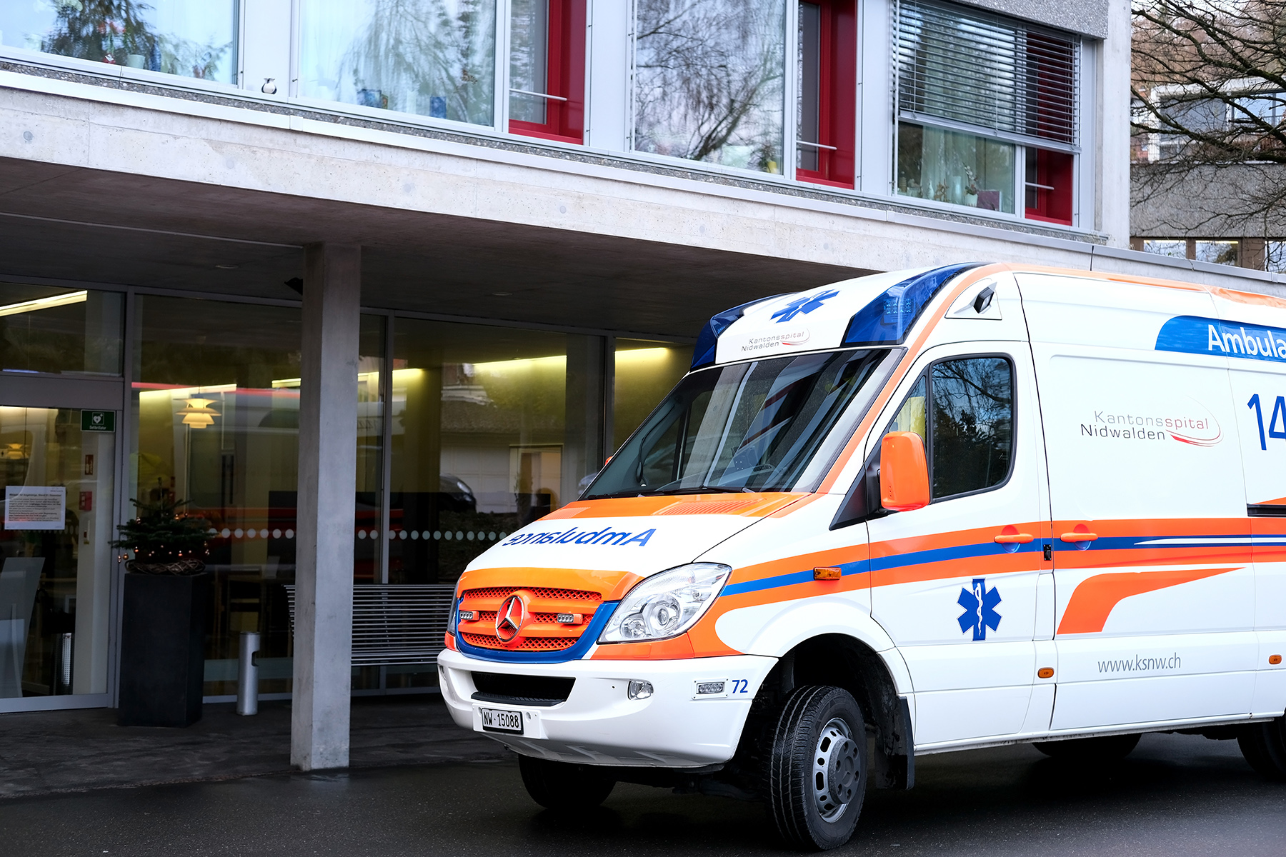 An ambulance at a hospital in Lucerne