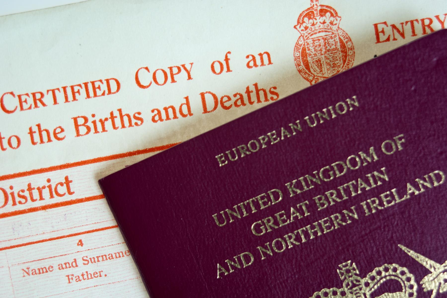A British birth certificate