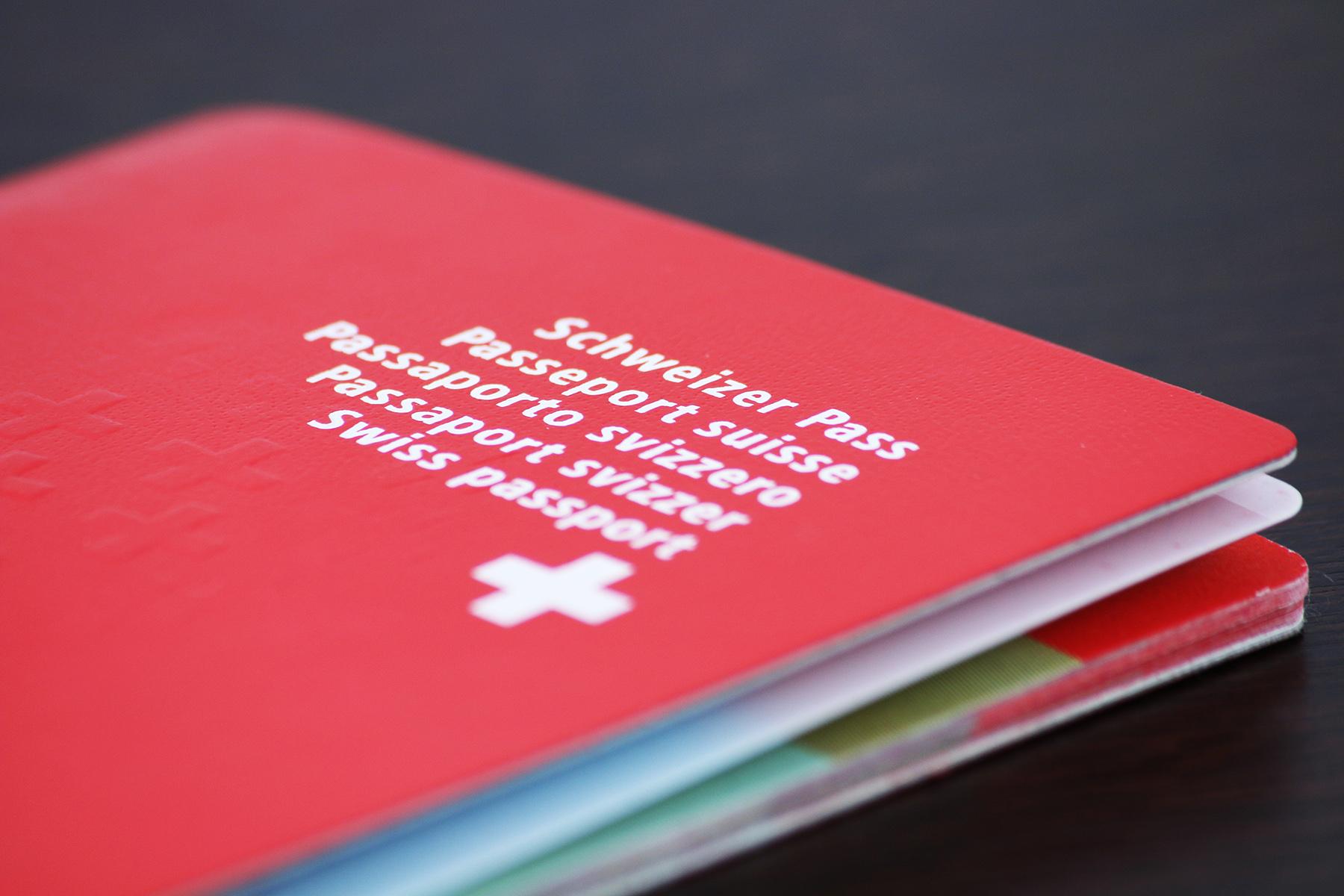 Closeup of a Swiss passport