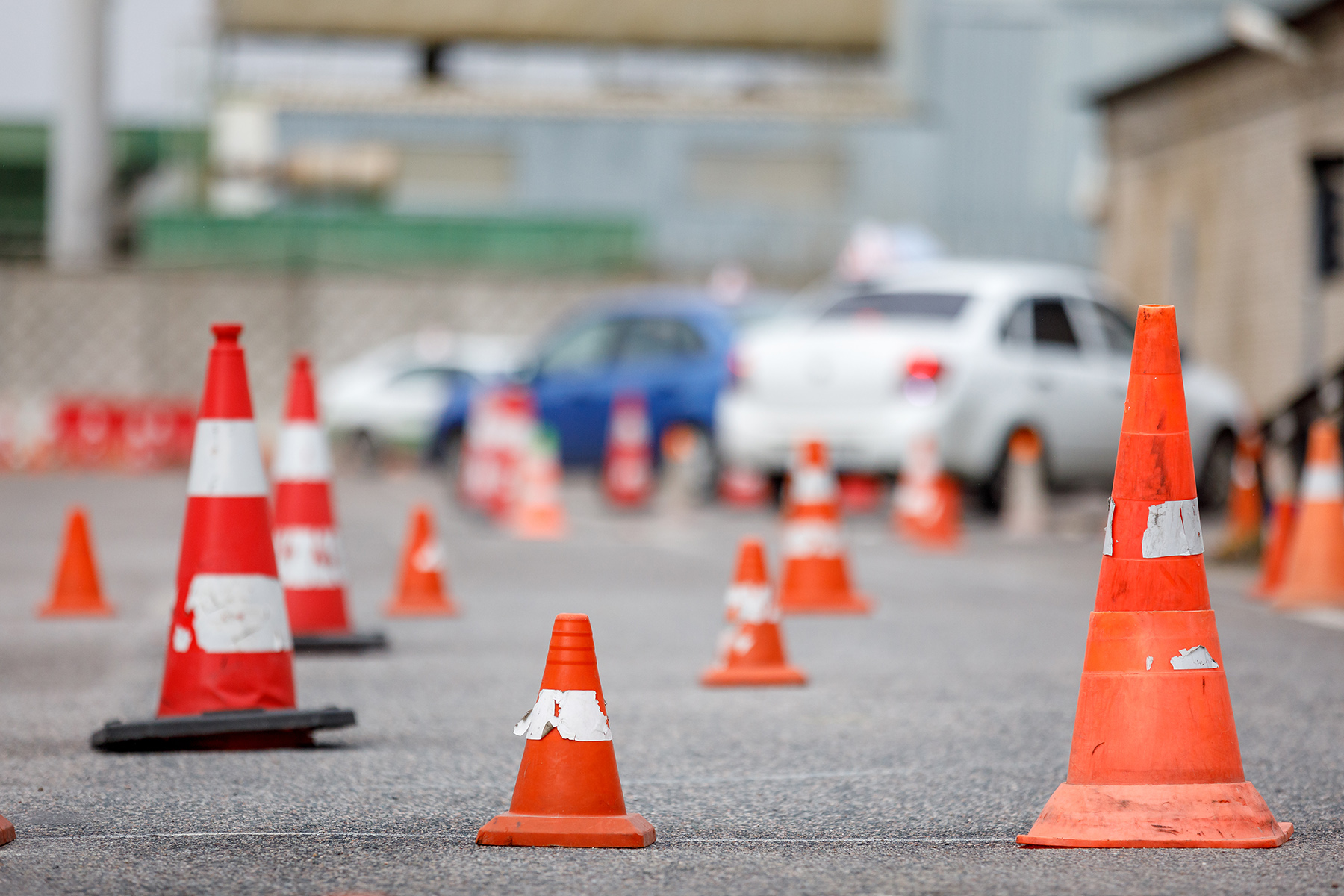 Traffic cones at a driving school