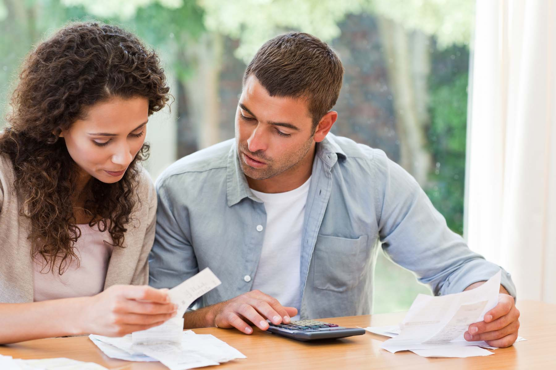 couple checking finances