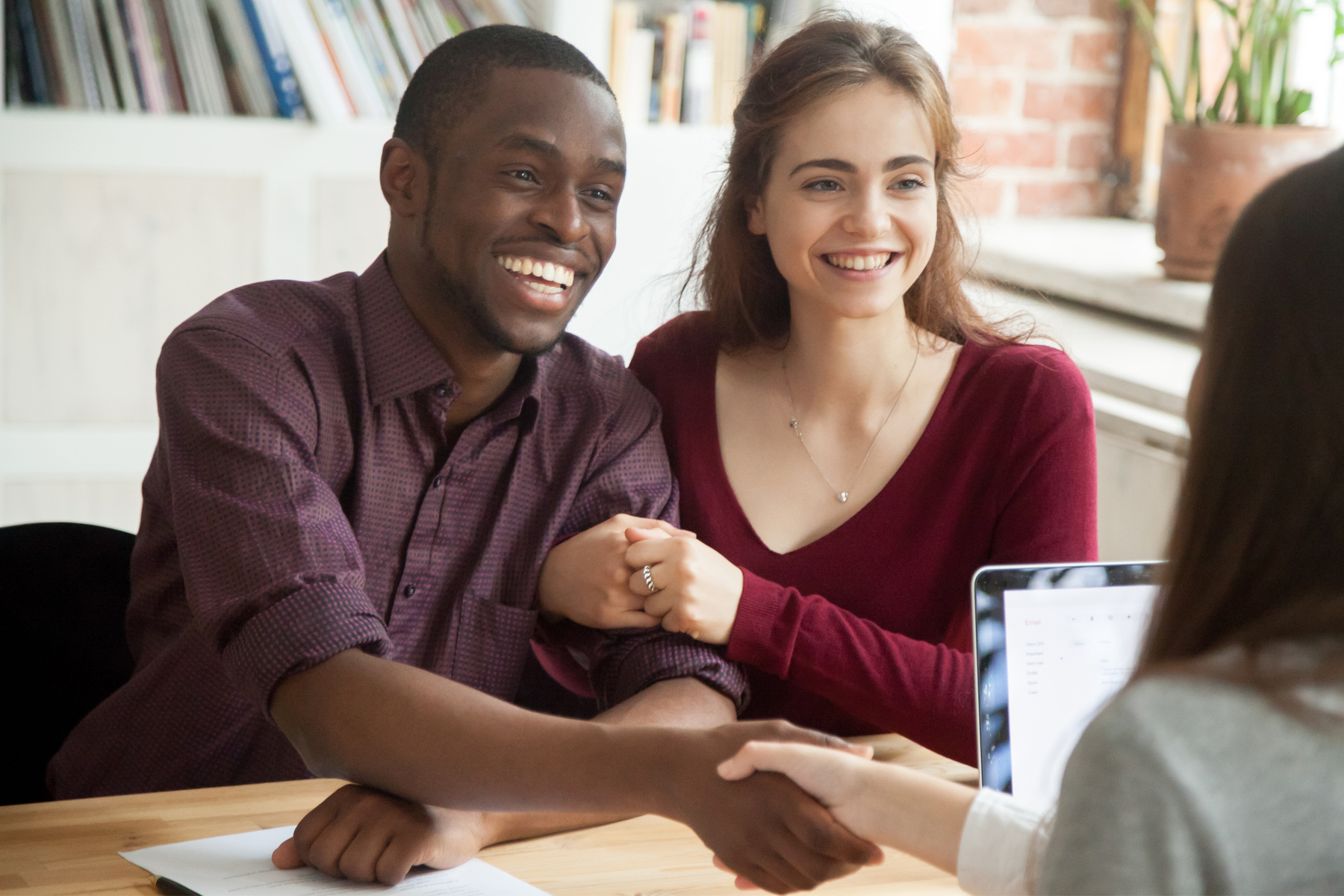 Couple meeting with a mortgage provider