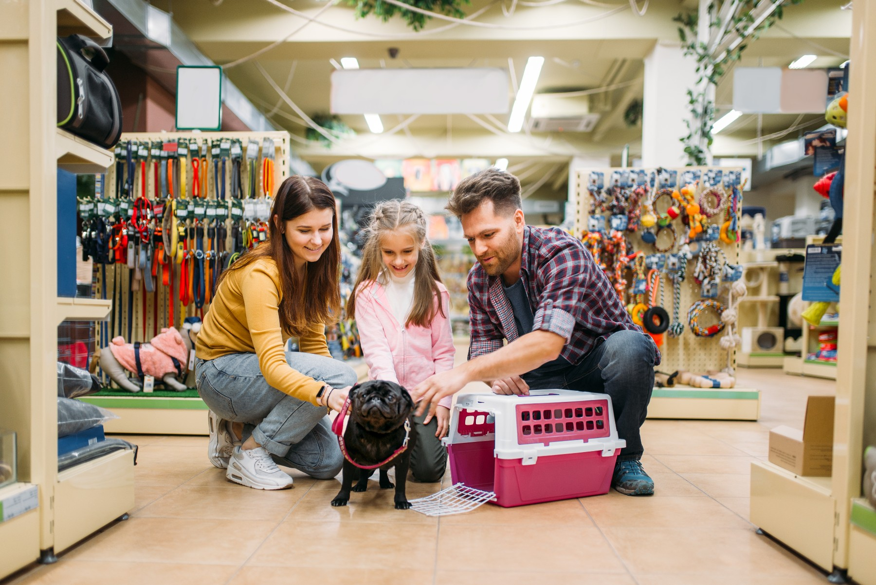 A family pet shopping in Switzerland