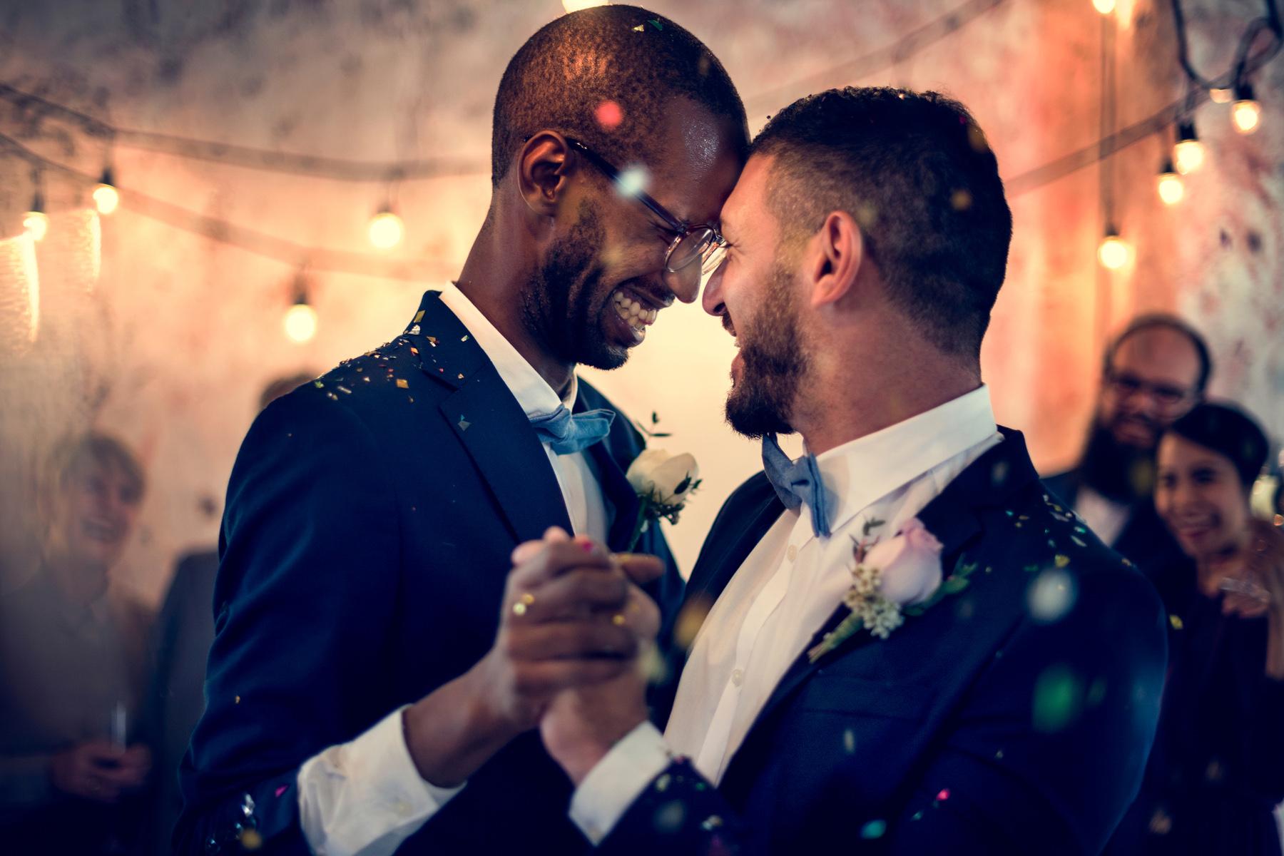 Gay couple at their wedding