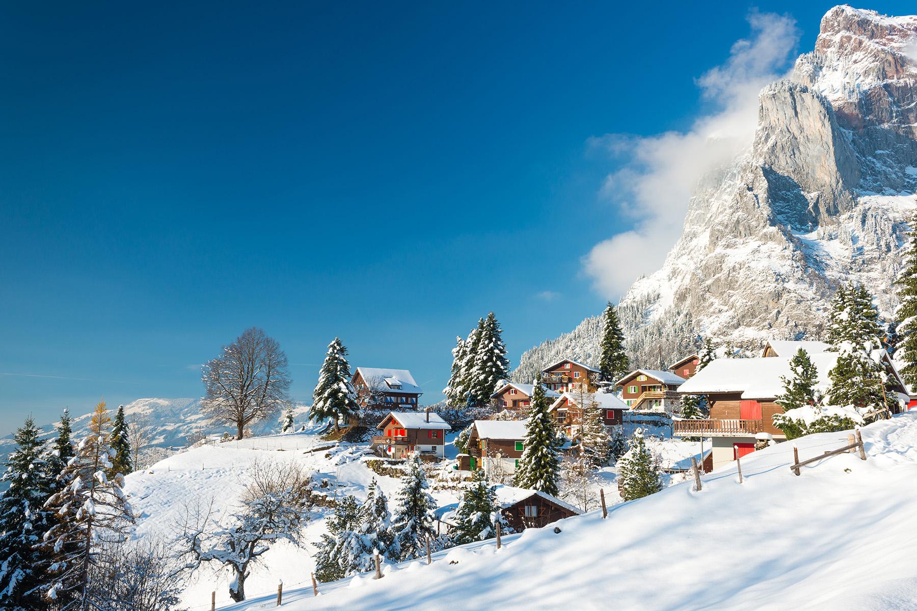 Snowy village in Switzerland