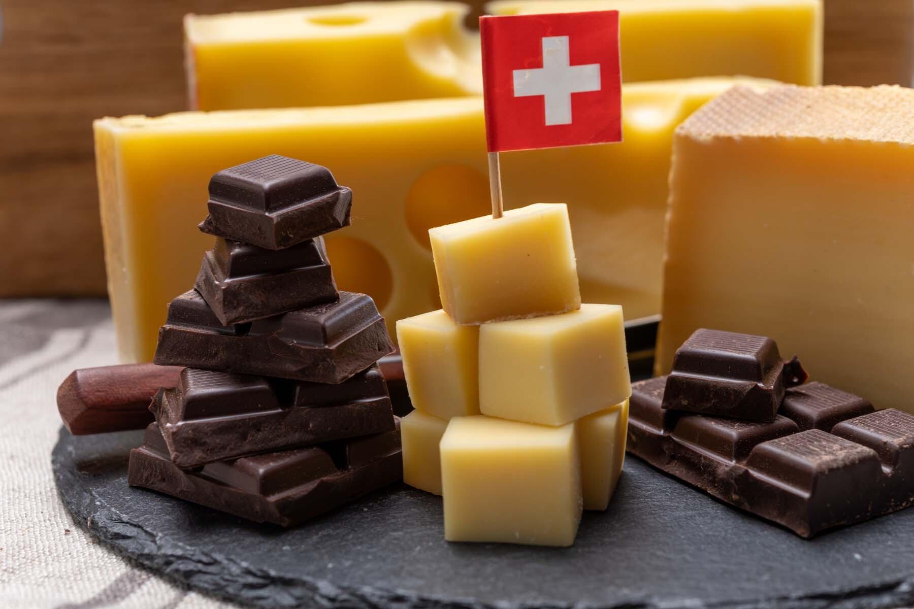 Swiss cheese and chocolate