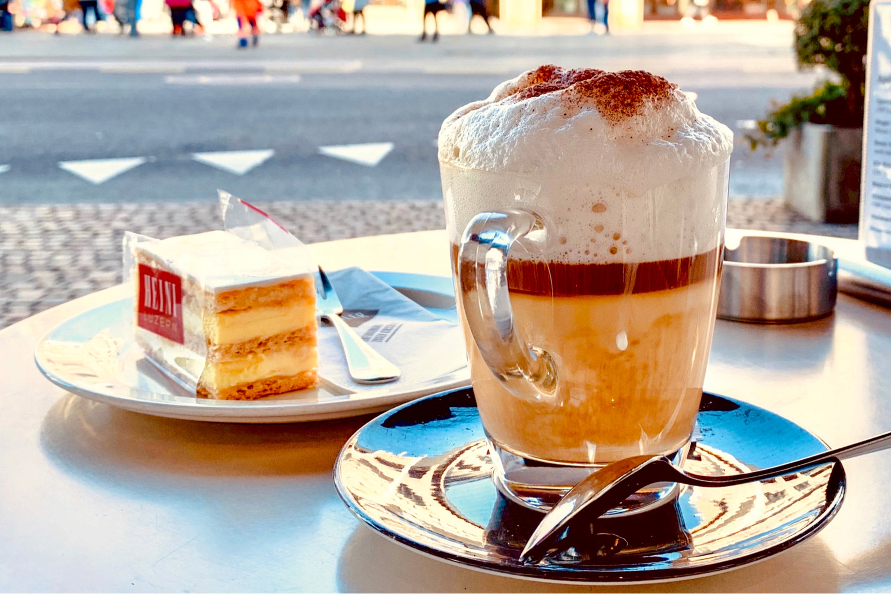 Coffee and cake on an outdoor terrace