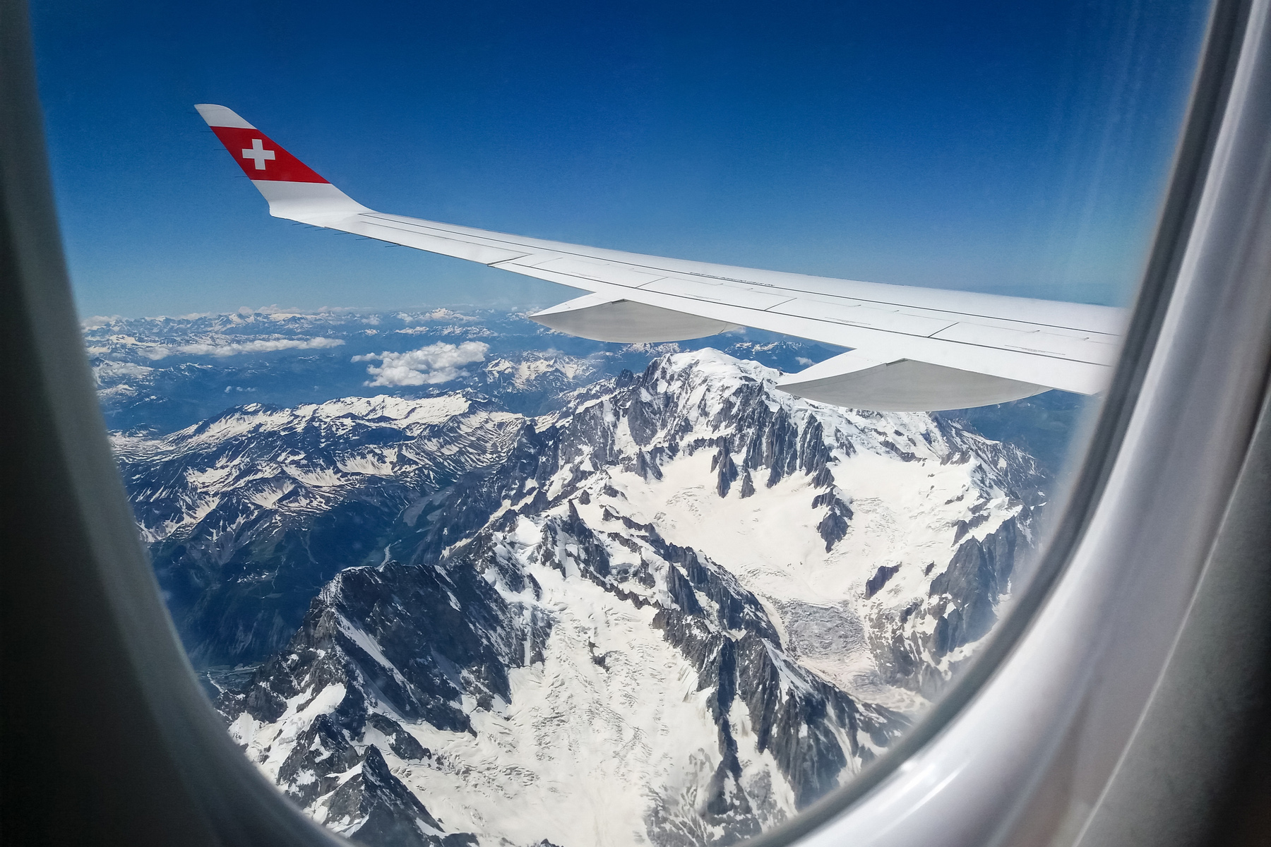 Swiss Air Lines plane over the Alps
