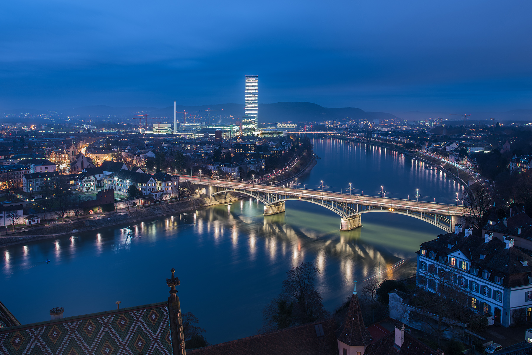 The Basel skyline at night