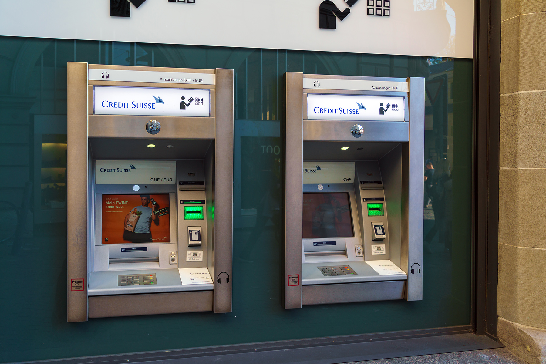 ATM machines at a Credit Suisse bank
