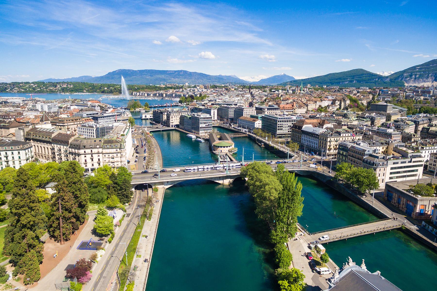 The skyline of Geneva
