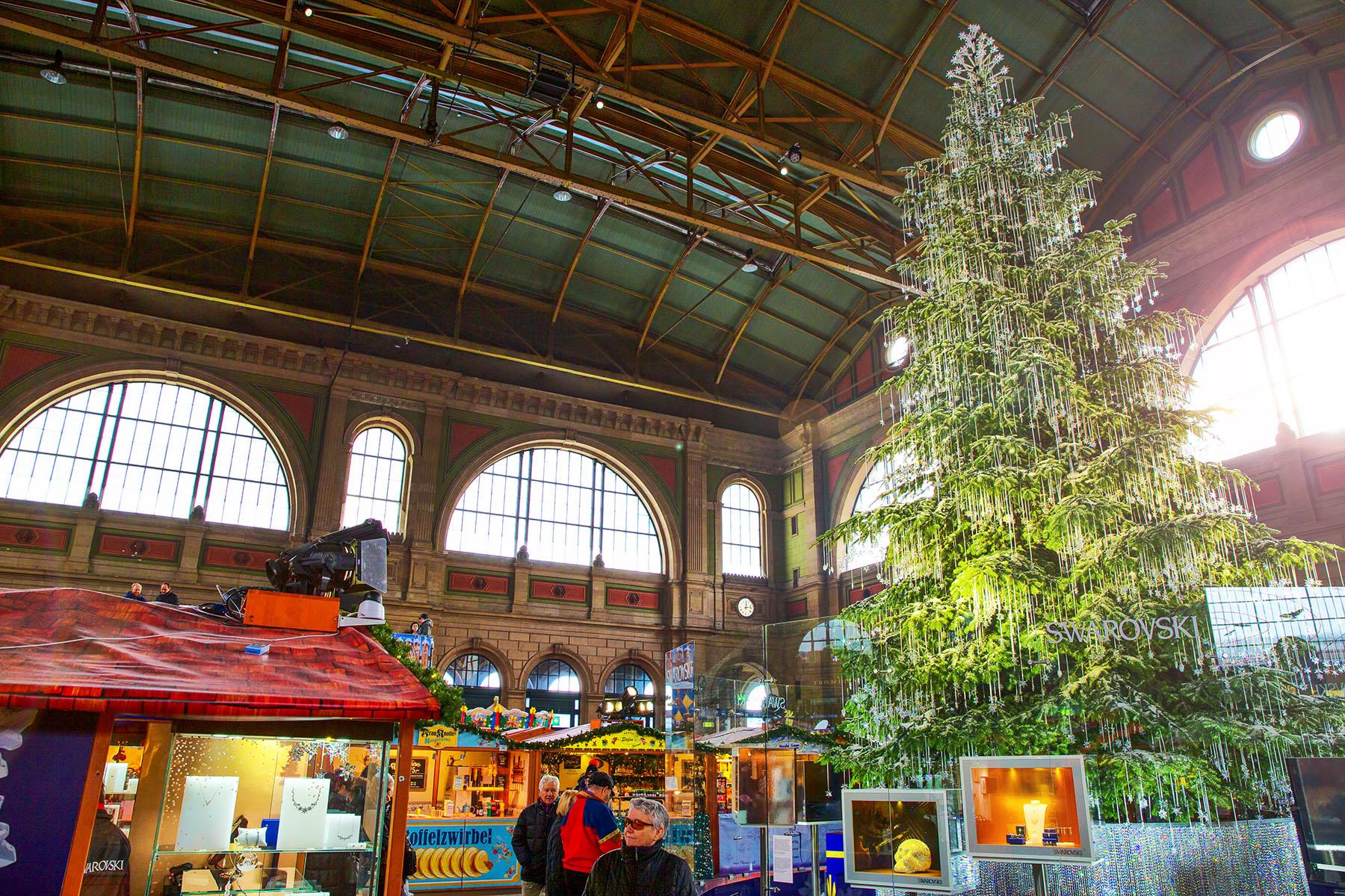 An indoor Christmas market in Zürich