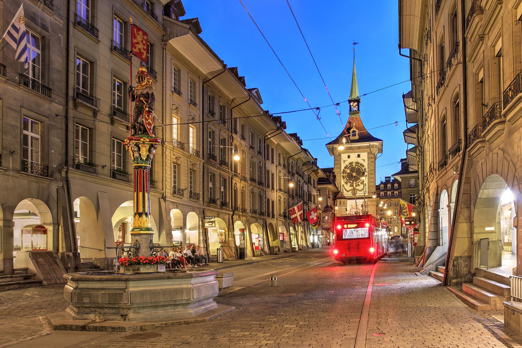 A nighttime view of Kramgasse in Bern