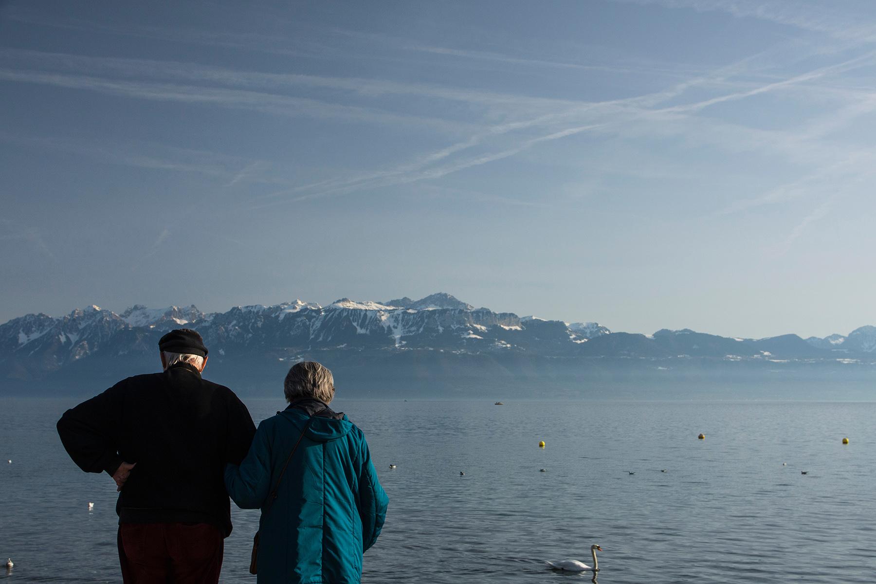 A retired couple at Lake Geneva