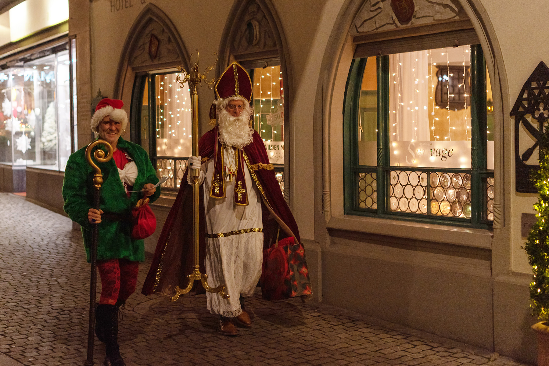 A Swiss Samichlaus roams the streets of Lucerne