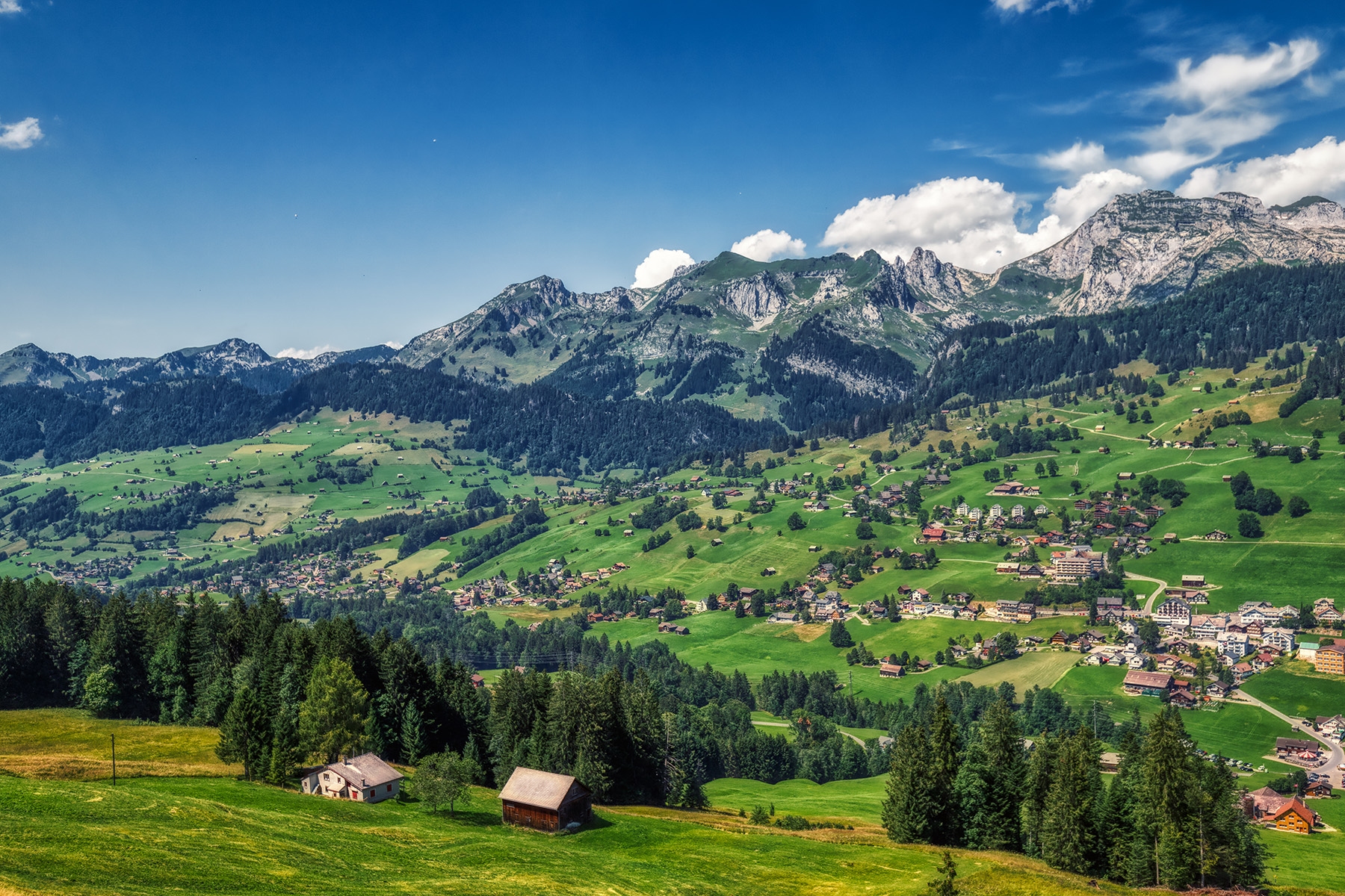 Best hikes in Switzerland: a view of the Swiss village of Toggenburg