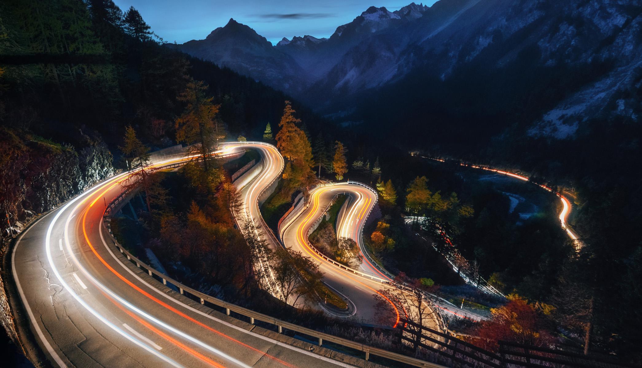 Maloja Pass at night