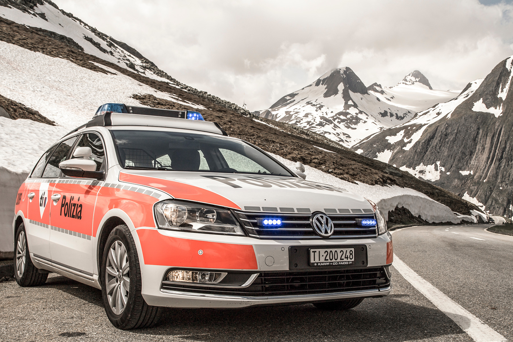 Police car in the mountains of Ticino
