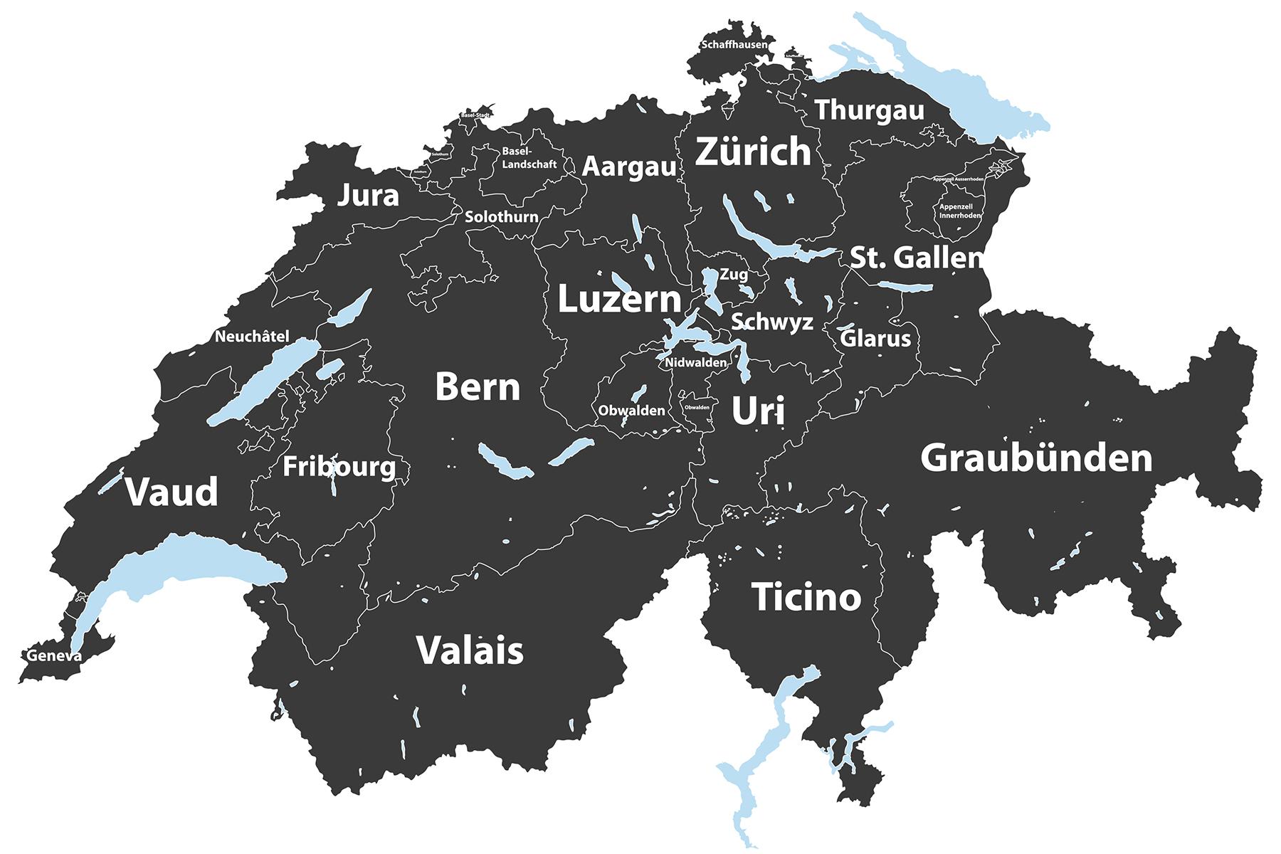 Swiss canton map
