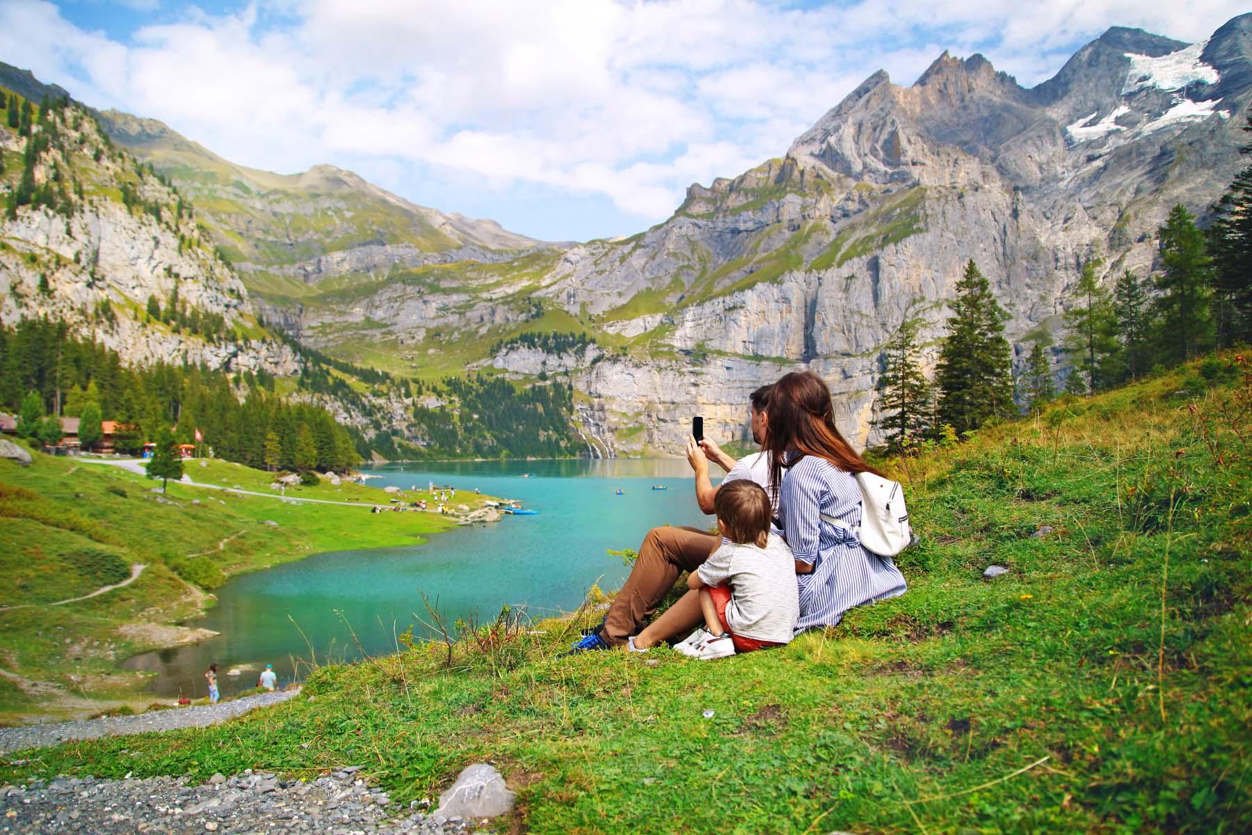 family hiking switzerland