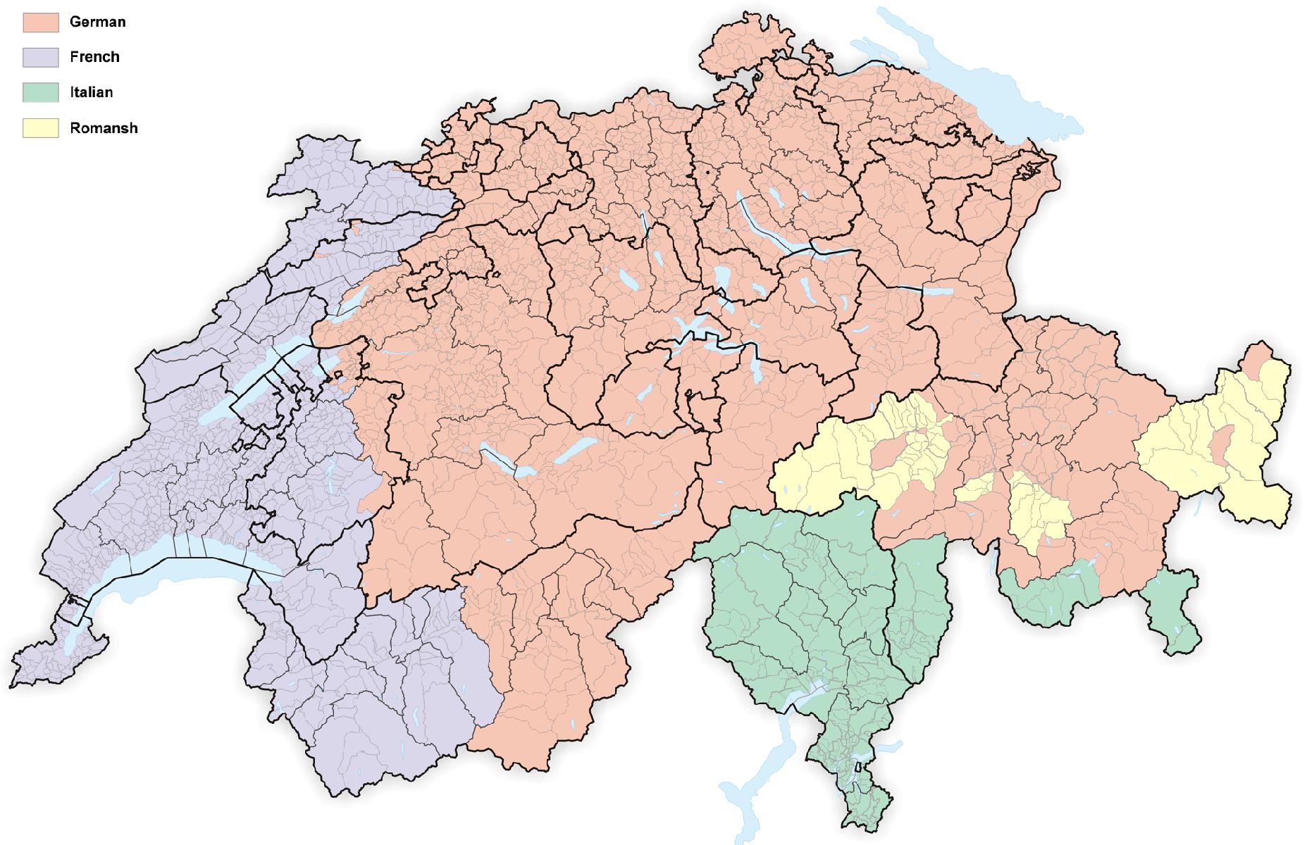 Map of language distribution in Switzerland (Image: Tschubby/Wikimedia)