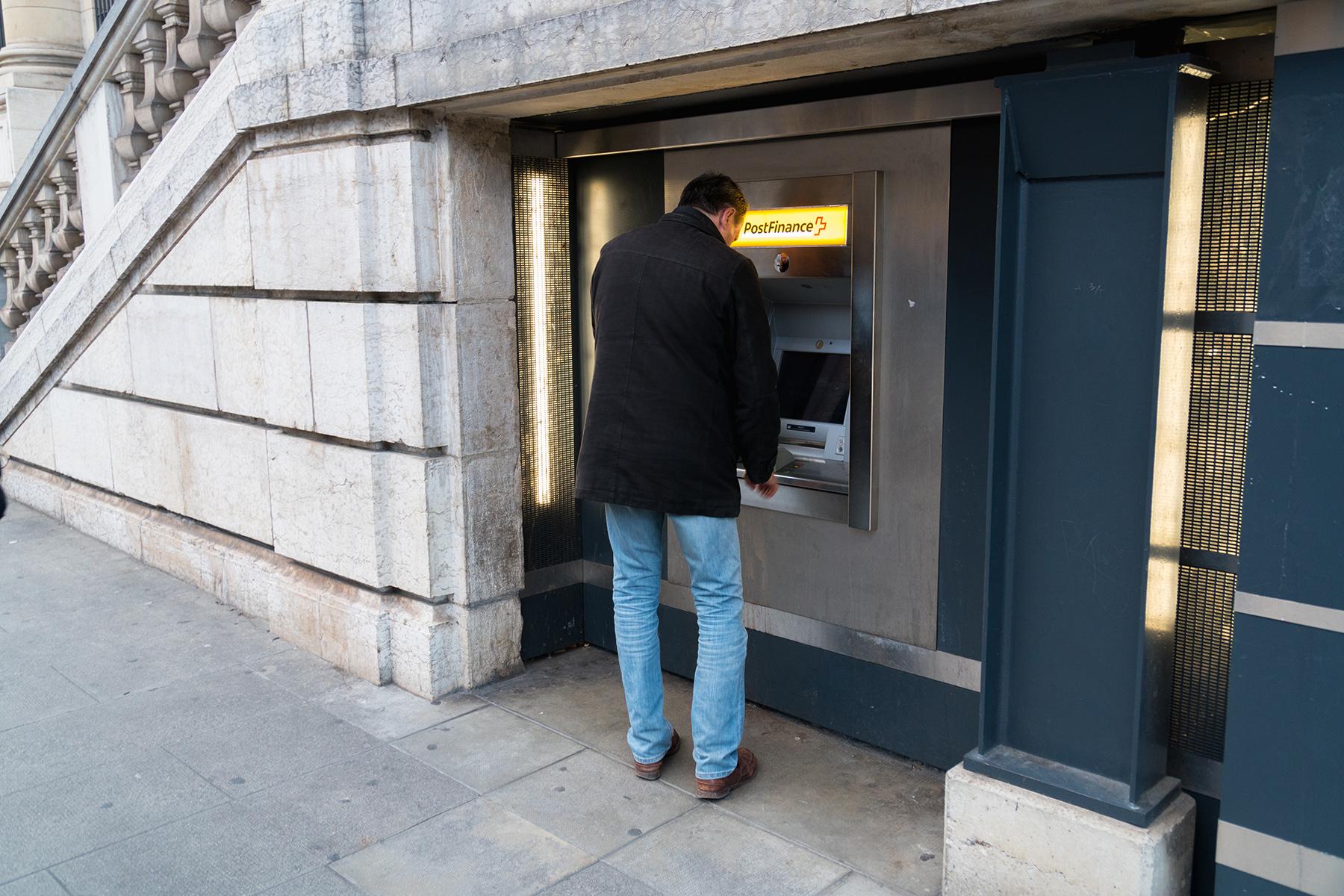 Swiss bank ATM in Geneva