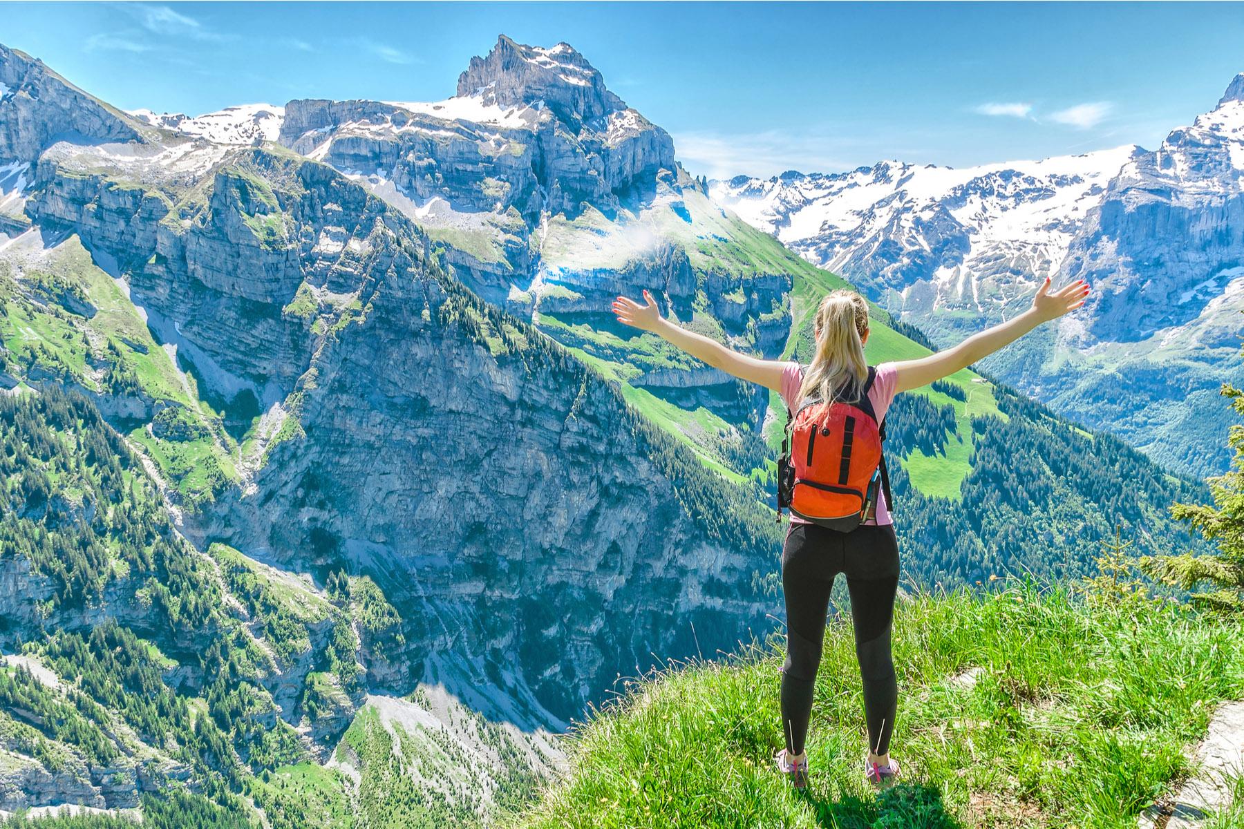 Woman hiking in Switzerland