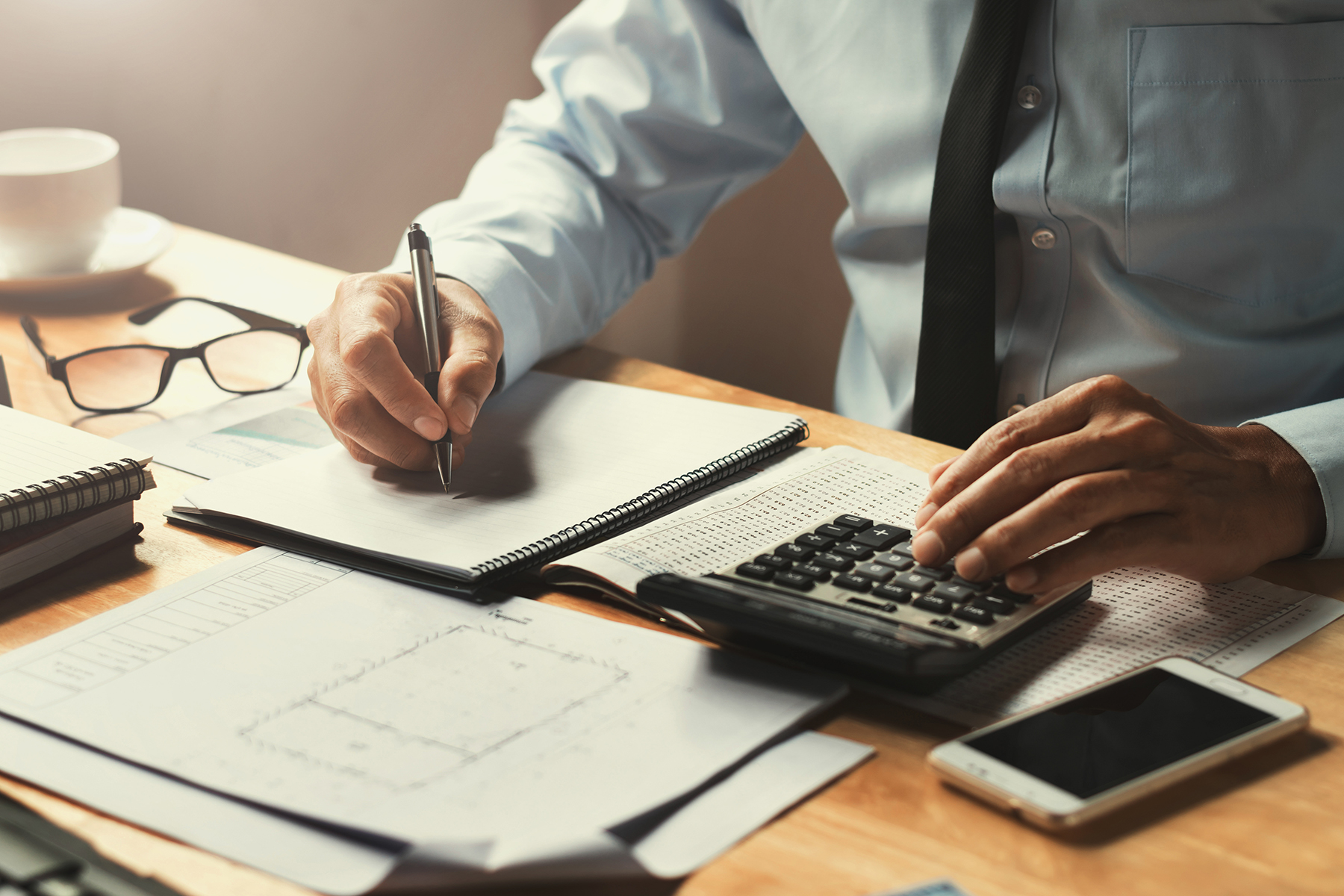 Accountant making calculations