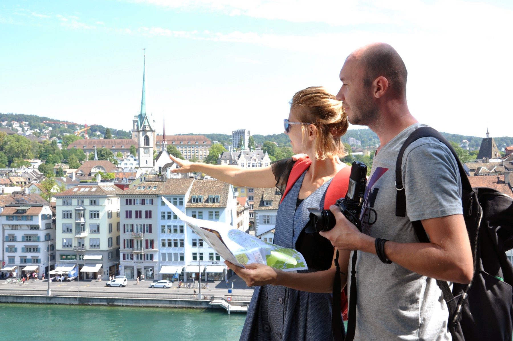 family reunification Switzerland, Swiss couple tour city