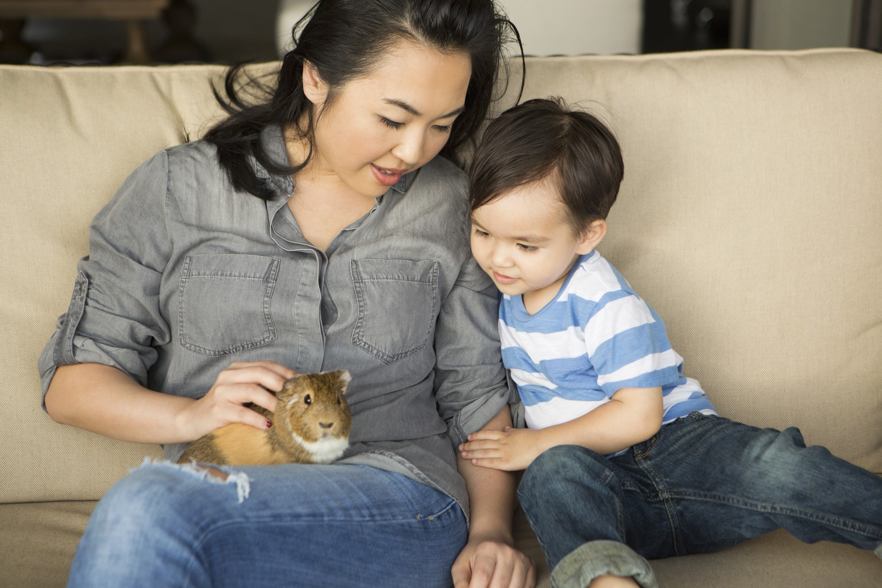 Mother and son with a guinea pig
