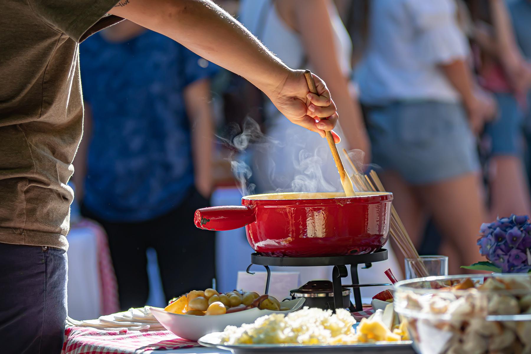 Stirring Swiss fondue