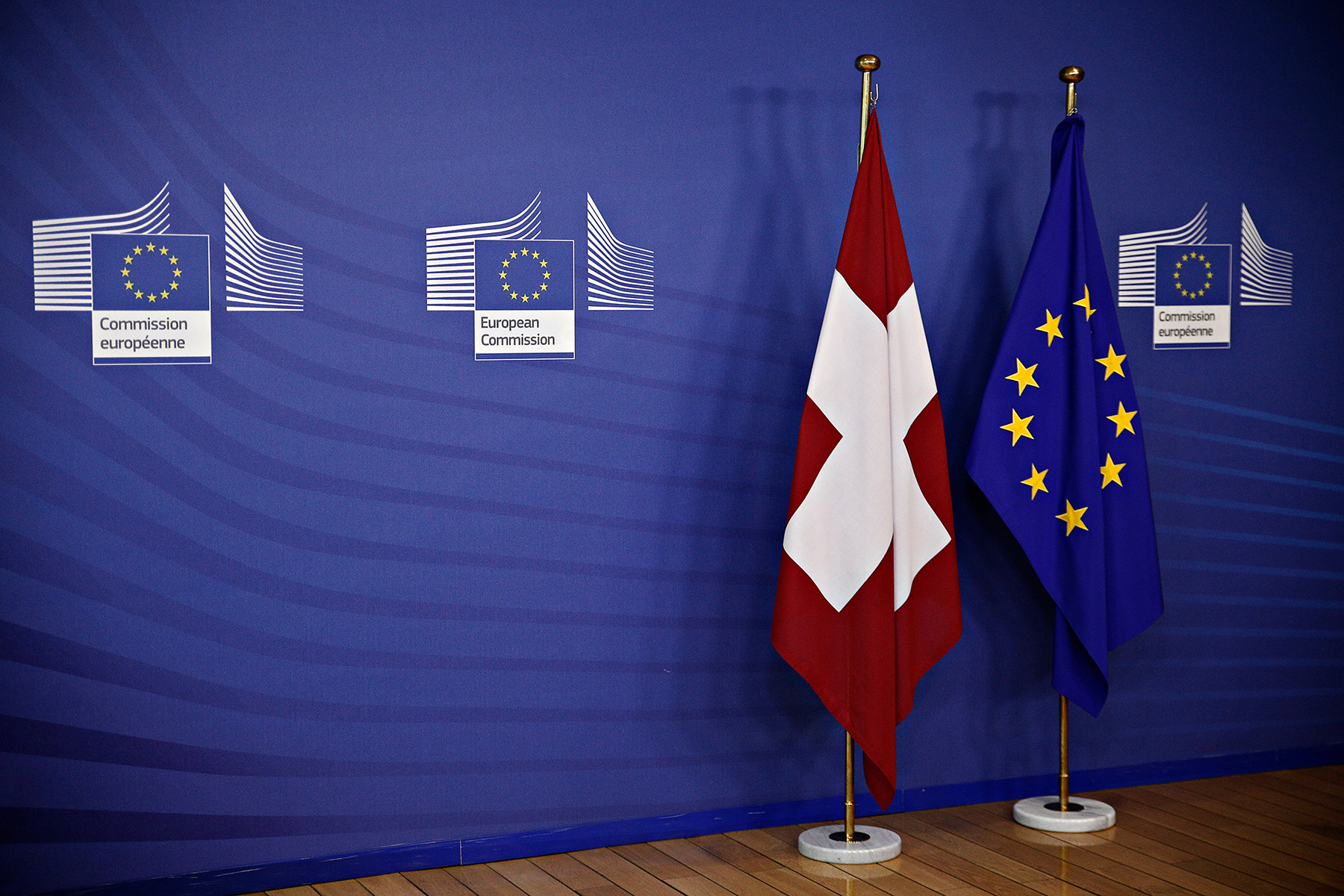 Flags of Switzerland and the EU at the European Commission