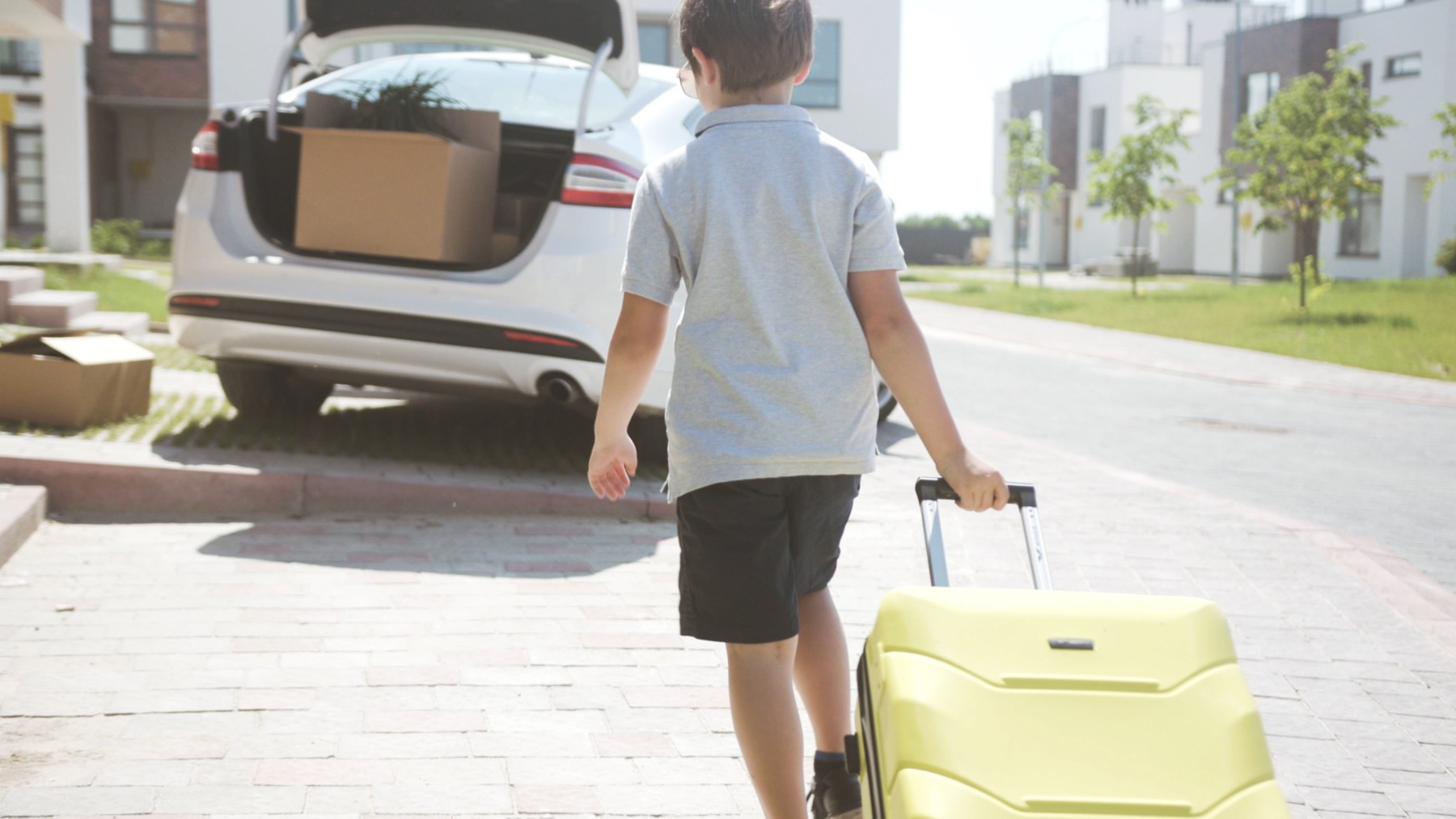 import car Switzerland, young boy with luggage walks to car