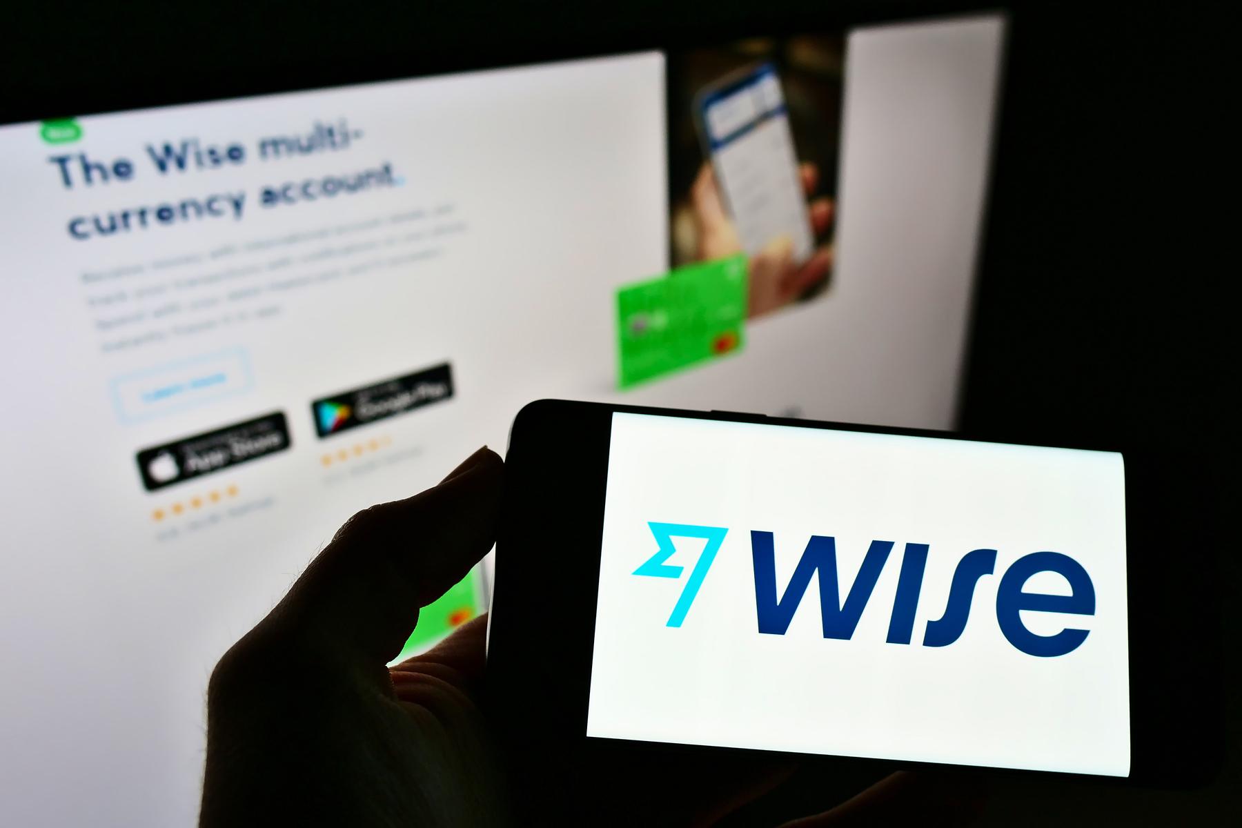 Wise money transfer app on phone