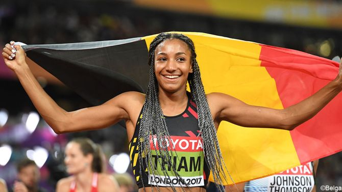 Nafi Thiam has won the women's heptathlon at the Athletics World Championships in London