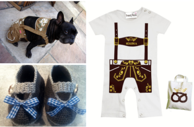 Traditional Bavarian costume for for baby and pets