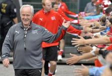 Swiss give coach Koebi Kuhn victory send-off