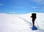 Snowshoe trekking inside the Zinal Glacier